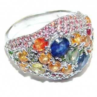 Genuine multicolor Sapphire .925 Sterling Silver handcrafted Ring size 8