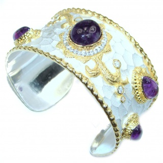 Bracelet with Cabochon Amethyst & Diamonds 24K gold and Silver in Antique White Patina