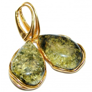 Large Green Baltic Polish Amber .925 Sterling Silver earrings