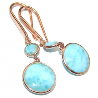 Precious Blue Larimar rose gold over .925 Sterling Silver handmade earrings