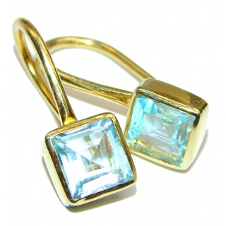 Rich Design Swiss Blue Topaz Gold over .925 Sterling Silver handcrafted earrings