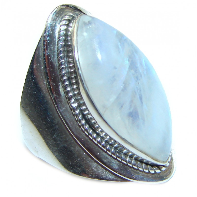 Rainbow Moonstone .925 Sterling Silver handmade Ring size 7