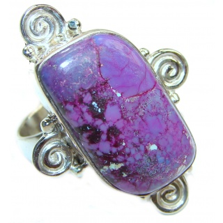 Huge Purple Turquoise .925 Sterling Silver handcrafted ring; s. 8