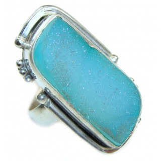 Huge Exotic Druzy Agate Sterling Silver Ring s. 6 1/4