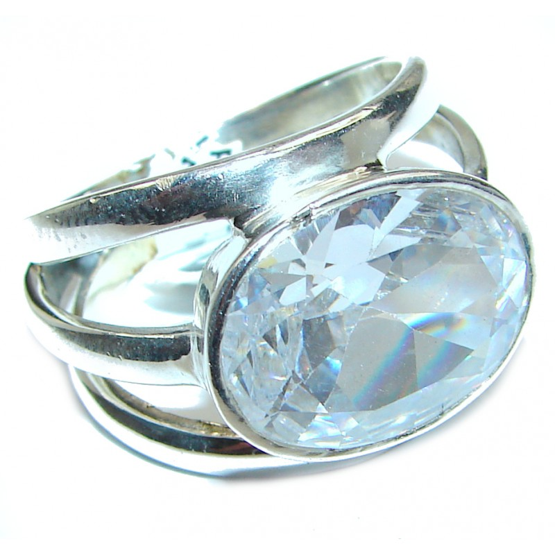 Fancy White Topaz .925 Sterling Silver handmade Ring s. 9