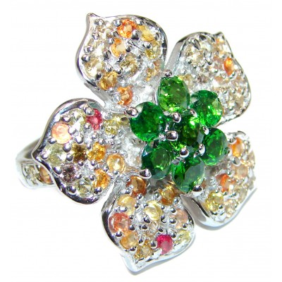 Large Genuine Chrome Diopside multicolor Sapphire .925 Sterling Silver handcrafted Statement Ring size 9