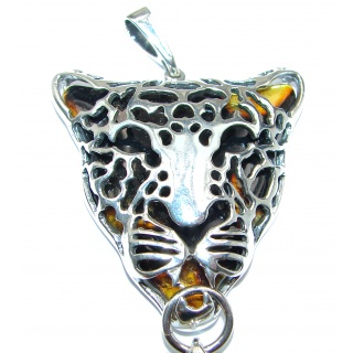 LARGE 4 1/4 inches long Gephard Natural Baltic Amber .925 Sterling Silver handmade pendant