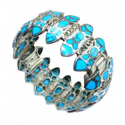 Huge Boho Chic Genuine Beauty inlay Turquoise .925 Sterling Silver handmade Bracelet