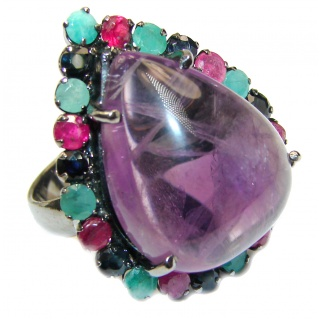 Alessandra Natural Amethyst black rhodium .925 Sterling Silver handcrafted ring size 8 1/4