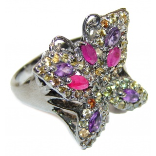 Sublime Butterfly Multigem .925 Sterling Silver handmade Ring s. 9