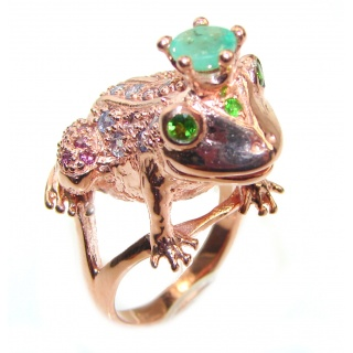 Large Frog Genuine Emerald rose gold over .925 Sterling Silver handcrafted Statement Ring size 8 3/4