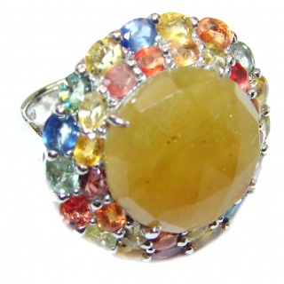 Large Genuine yellow Sapphire .925 Sterling Silver handcrafted Statement Ring size 7 1/2
