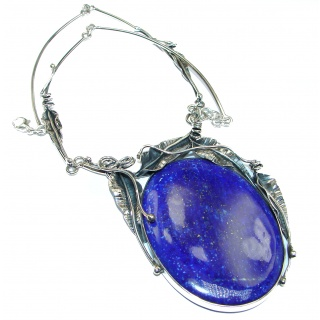 BEST QUALITY Afghan Lapis Lazuli .925 Sterling Silver handmade Necklace