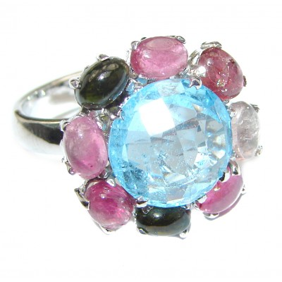 Melissa Genuine Swiss Blue Topaz .925 Sterling Silver handcrafted Statement Ring size 7 1/2