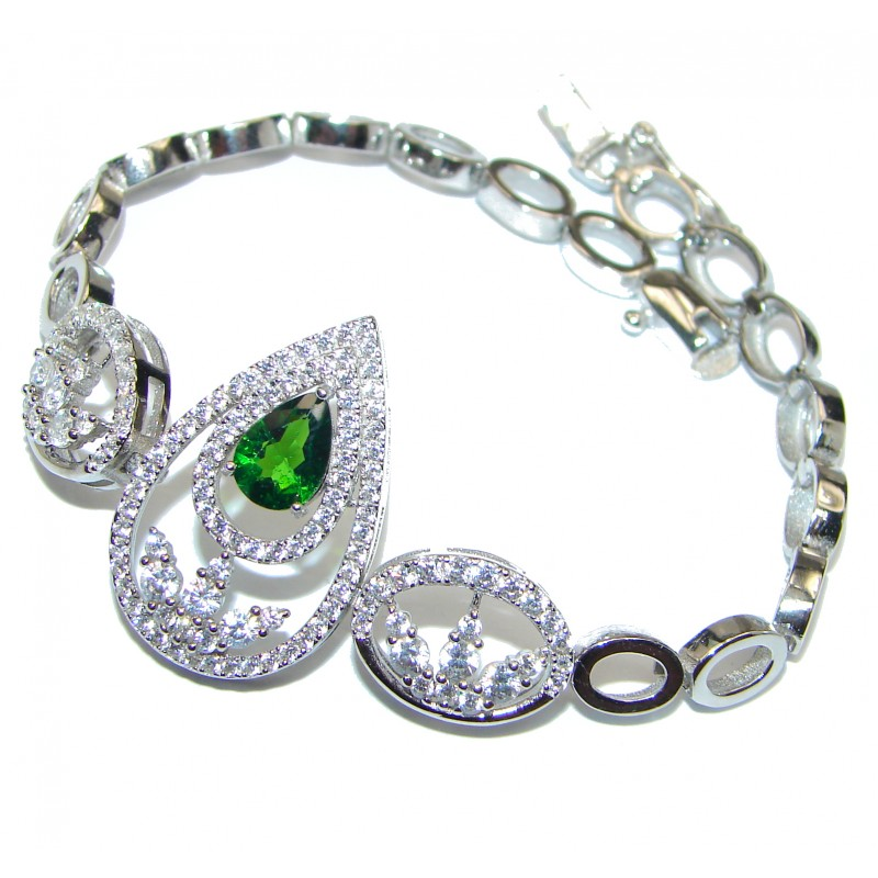 Authentic Chrome Diopside Sapphire .925 Sterling Silver handcrafted Bracelet