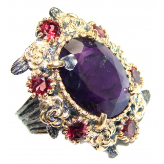 Massive 85ctw Purple Perfection Amethyst .925 Sterling Silver Ring size 7