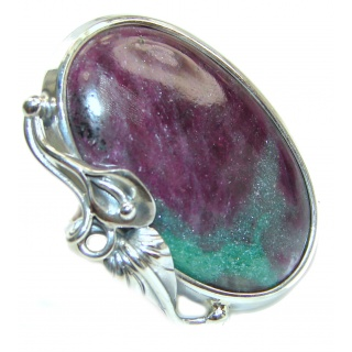 Exotic Ruby In Zoisite Sterling Silver Ring s. 8 adjustable