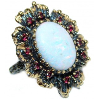 Japanese Opal 14K Gold over .925 Sterling Silver handcrafted ring size 7 1/4