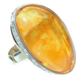 Excellent Vintage Design Baltic Amber .925 Sterling Silver handcrafted Ring s. 9 3/4
