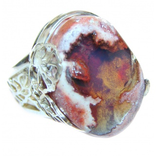 Good Energy Orange Genuine Mexican Opal .925 Sterling Silver handmade Ring size 7 adjustable