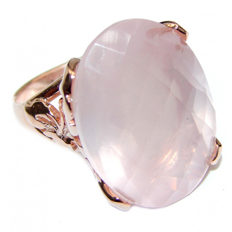 75ctw Rose Quartz Rose Gold over .925 Sterling Silver brilliantly handcrafted ring s. 7 1/4