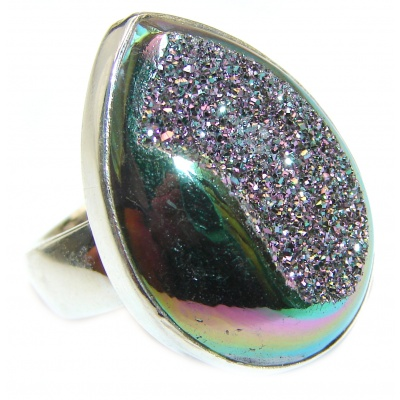 Huge Exotic Titanium Druzy Agate Sterling Silver Ring s. 7