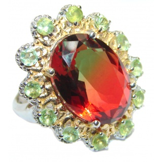 HUGE Watermelon Tourmaline color Topaz 18K Gold over .925 Sterling Silver handcrafted Ring s. 8