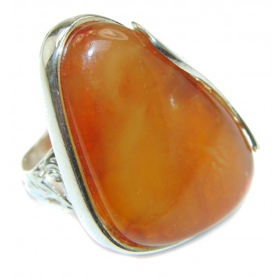 HUGE Genuine Butterscotch Baltic Amber .925 Sterling Silver handmade Ring size 8 1/2