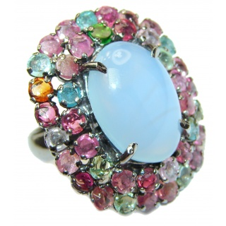 Blue Angel Chalcedony Agate Tourmaline .925 Sterling Silver handcrafted huge Ring s. 8 1/4
