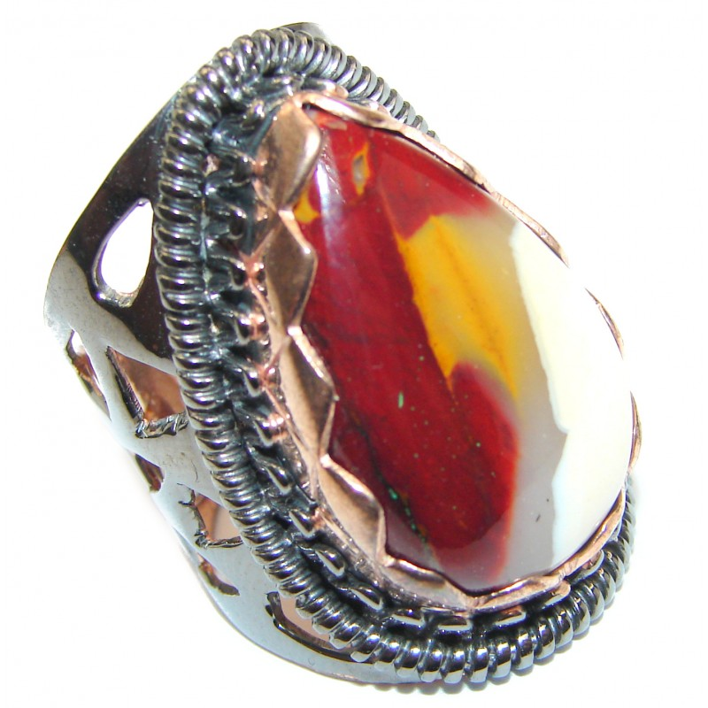 Large Flawless Australian Bracciated Mookaite .925 Sterling Silver Ring size 6 1/2