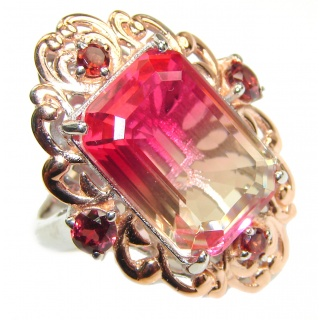 Huge Top Quality Volcanic Pink Tourmaline 18K Gold over .925 Sterling Silver handcrafted Ring s. 8 1/4