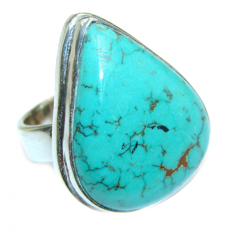 Huge Turquoise .925 Sterling Silver handcrafted ring; s. 6 3/4