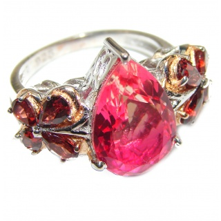 Pear cut Pink Topaz .925 Sterling Silver handcrafted Ring s. 7 1/4