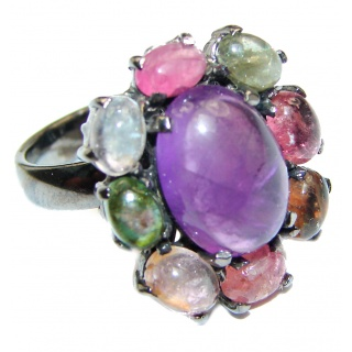 Alessandra Natural Amethyst black rhodium .925 Sterling Silver handcrafted ring size 7 1/4