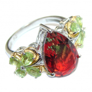 Pear cut Watermelon Tourmaline .925 Sterling Silver handcrafted Ring s. 7 1/2