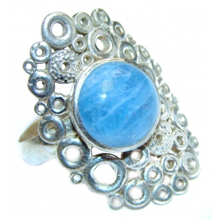 Bouquet of Flowers Authentic Aquamarine .925 Sterling Silver handmade Ring s. 7 adjustable