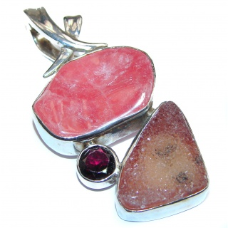Pure Perfection Genuine Argentinian Rhodochrosite .925 Sterling Silver handmade Pendant