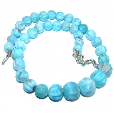 One of the kind Nature inspired Carved Larimar .925 Sterling Silver handmade necklace