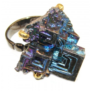 Natural Bismuth Crystal black rhodium over .925 Sterling Silver handmade Poison Ring size 9