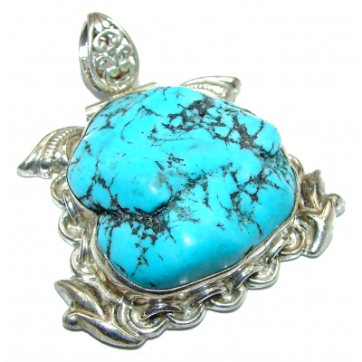 Exquisite Beauty old fashion authentic Turquoise .925 Sterling Silver handmade Pendant