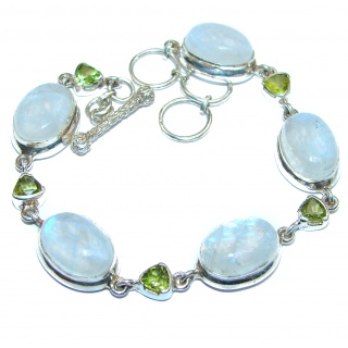 Real Treasure Fire Moonstone .925 Sterling Silver handmade Bracelet