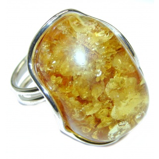 Excellent Vintage Design Baltic Amber .925 Sterling Silver handcrafted Ring s. 7 adjustable