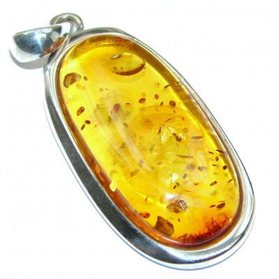 Natural Honey Baltic Amber 14K Gold over .925 Sterling Silver handmade Pendant