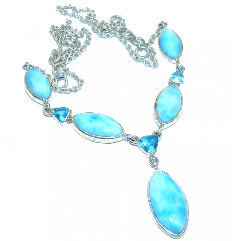 Angle's Heart Larimar .925 Sterling Silver handmade Necklace