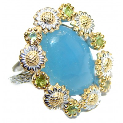 Genuine Aquamarine 14K Gold over .925 Sterling Silver handmade Cocktail Ring s. 5 3/4