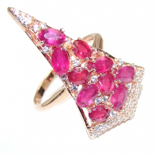 Victorian Style genuine Ruby & White Topaz .925 Sterling Silver ring; s. 7 1/4