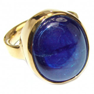 Large Genuine 35ctw Sapphire 18K Gold over .925 Sterling Silver handcrafted Statement Ring size 6