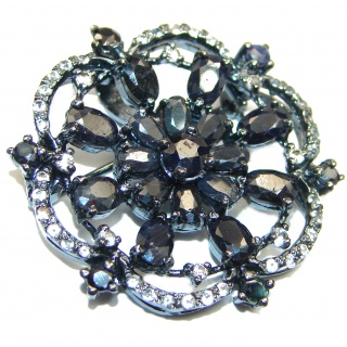 Large Blue Flower genuine black Sapphire .925 Sterling Silver handmade Pendant - Brooch