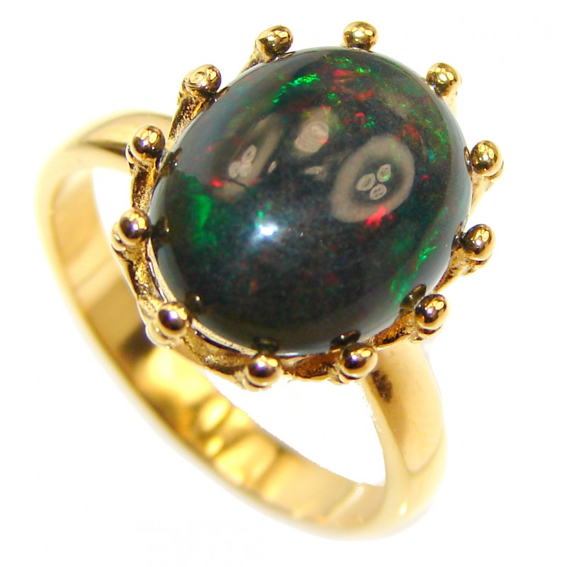 Vintage Design 2.5ctw Genuine Black Opal 18K Gold over .925 Sterling Silver handmade Ring size 8
