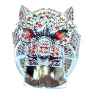 Large Panther's Head Genuine Ruby .925 Sterling Silver handcrafted Statement Ring size 9